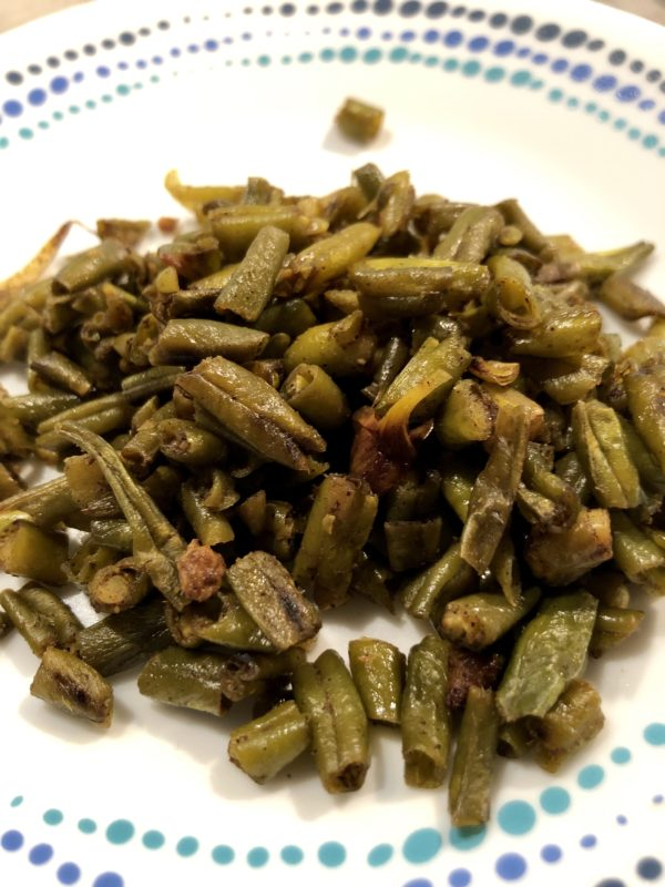 French beans on a white plate