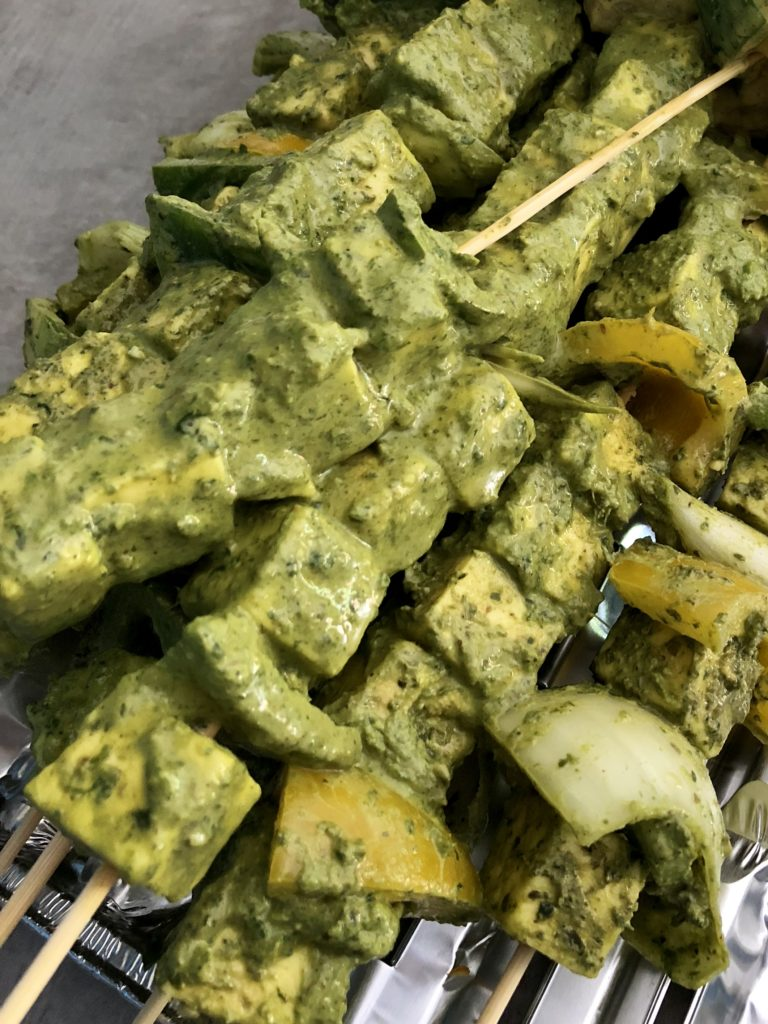 Paneer and vegetable skewers marinated in a green coriander chutney marinade