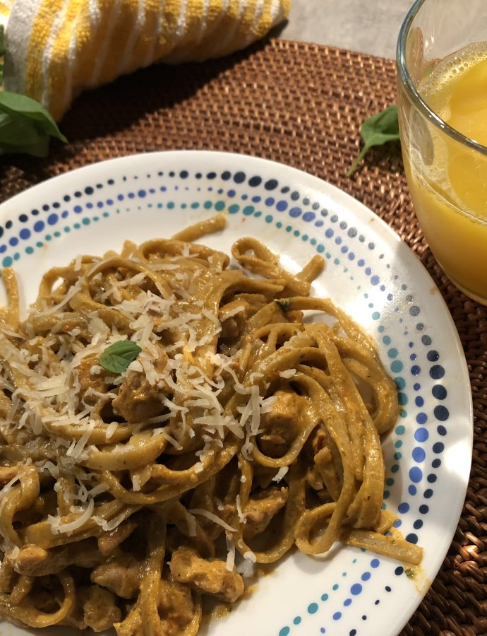 Roasted Red Pepper pesto and Chicken Pasta