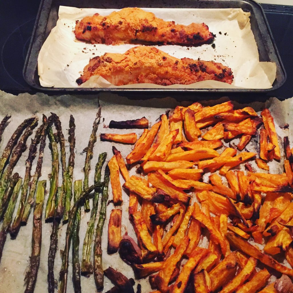 Lemony breaded salmon fillets with roasted sweet potato wedges and asparagus