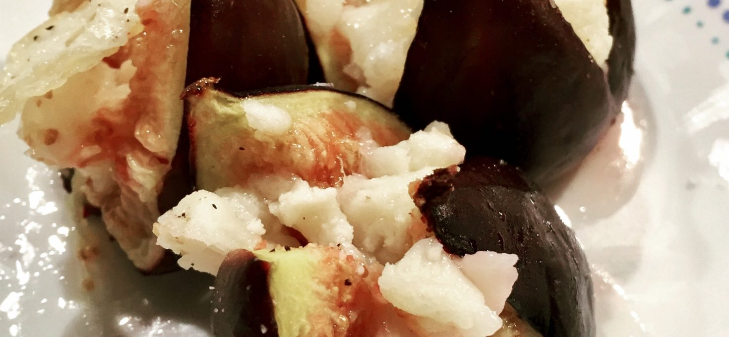 Roasted Figs and Goats Cheese with a Honey Dressing