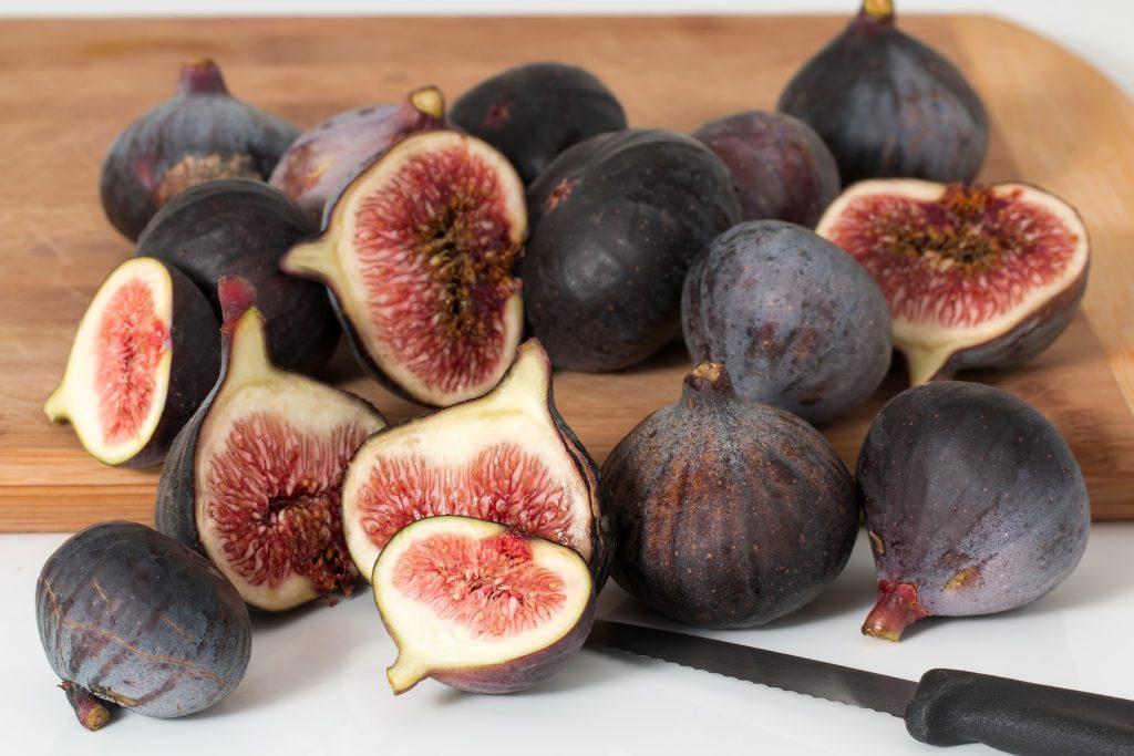 Figs on a wooden board