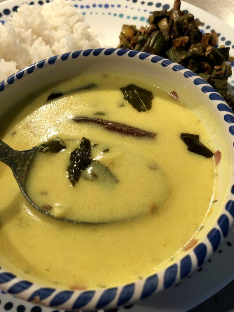 Rajasthani kadhi in a white bowl