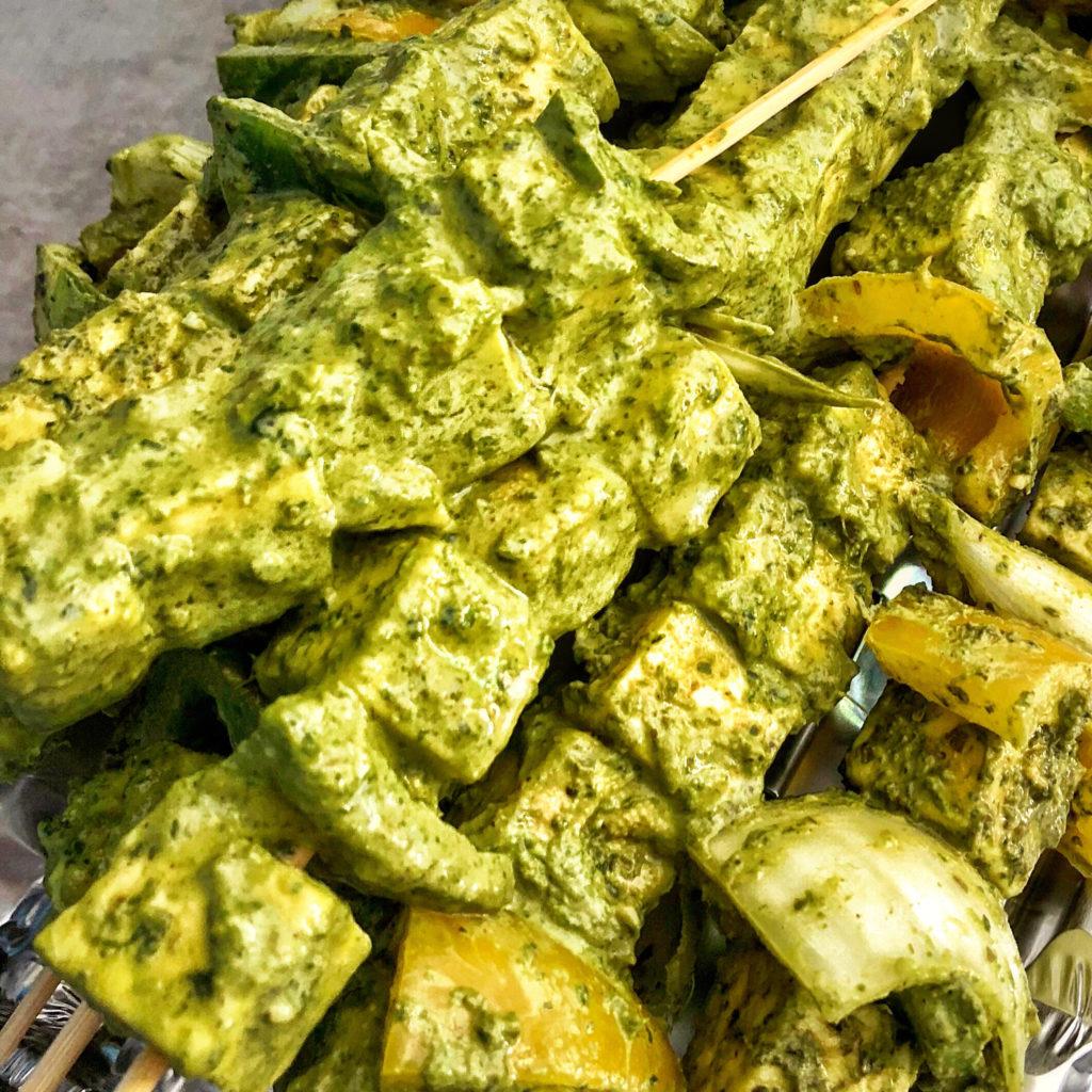 Coriander and mint marinated paneer skewers