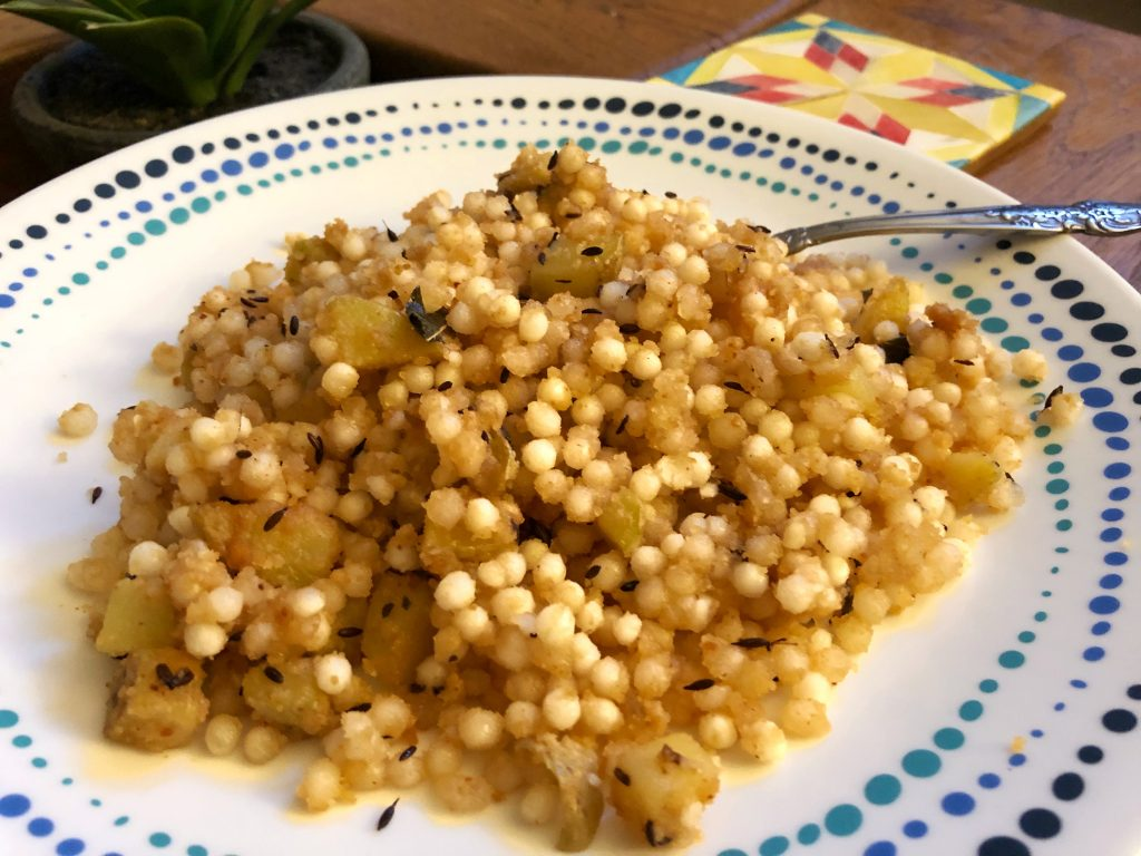 Sabudana Khichdi or tapioca pearls on a plate