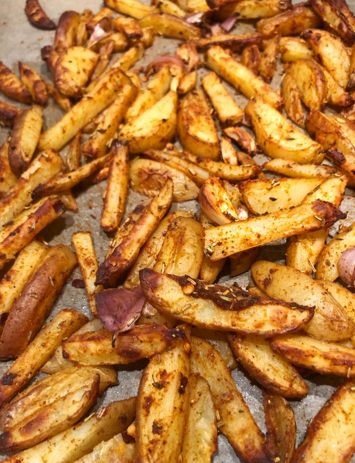 Chunky Baked Chips with Garlic, Rosemary and Thyme